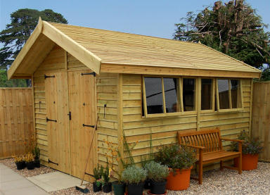 12' x 10' pressure treated barnstyle Stanford with pressure treated slatted roof and double doors