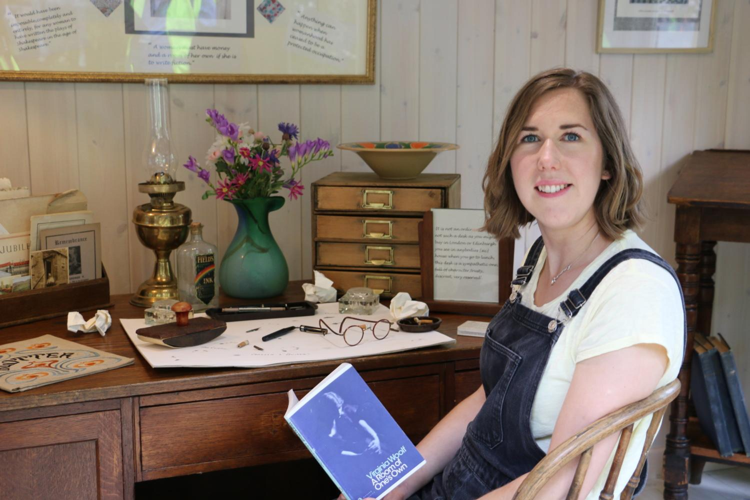 Virginia Woolf sitting inside the Woolf Shed at Chelsea Flower Show 2019