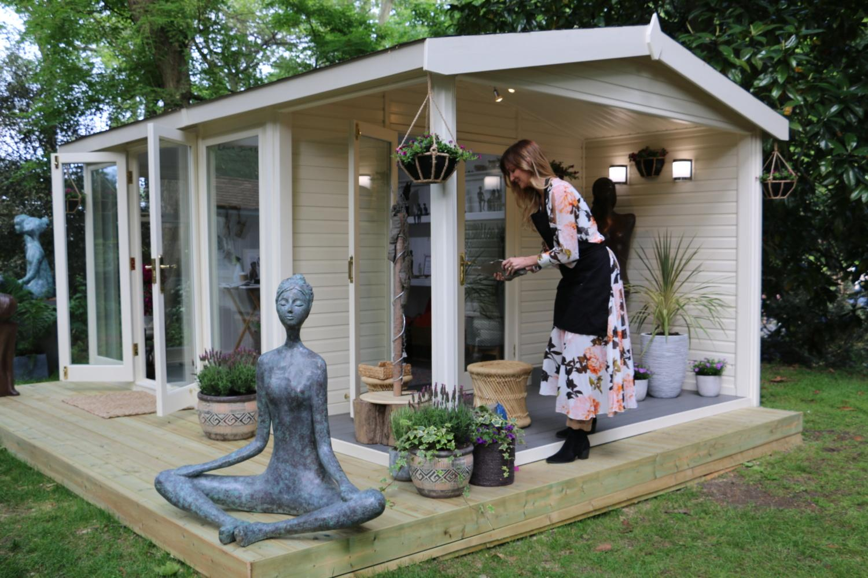 Artisan working outside Malvern Studio at Chelsea Flower Show 2019