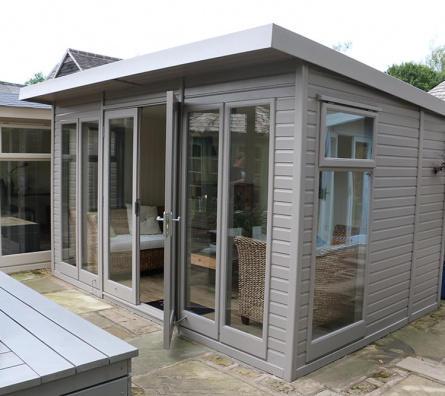 Studio Pent Cedar Garden Office ex-display garden building available at Malvern Garden Buildings, Leek, Staffordshire