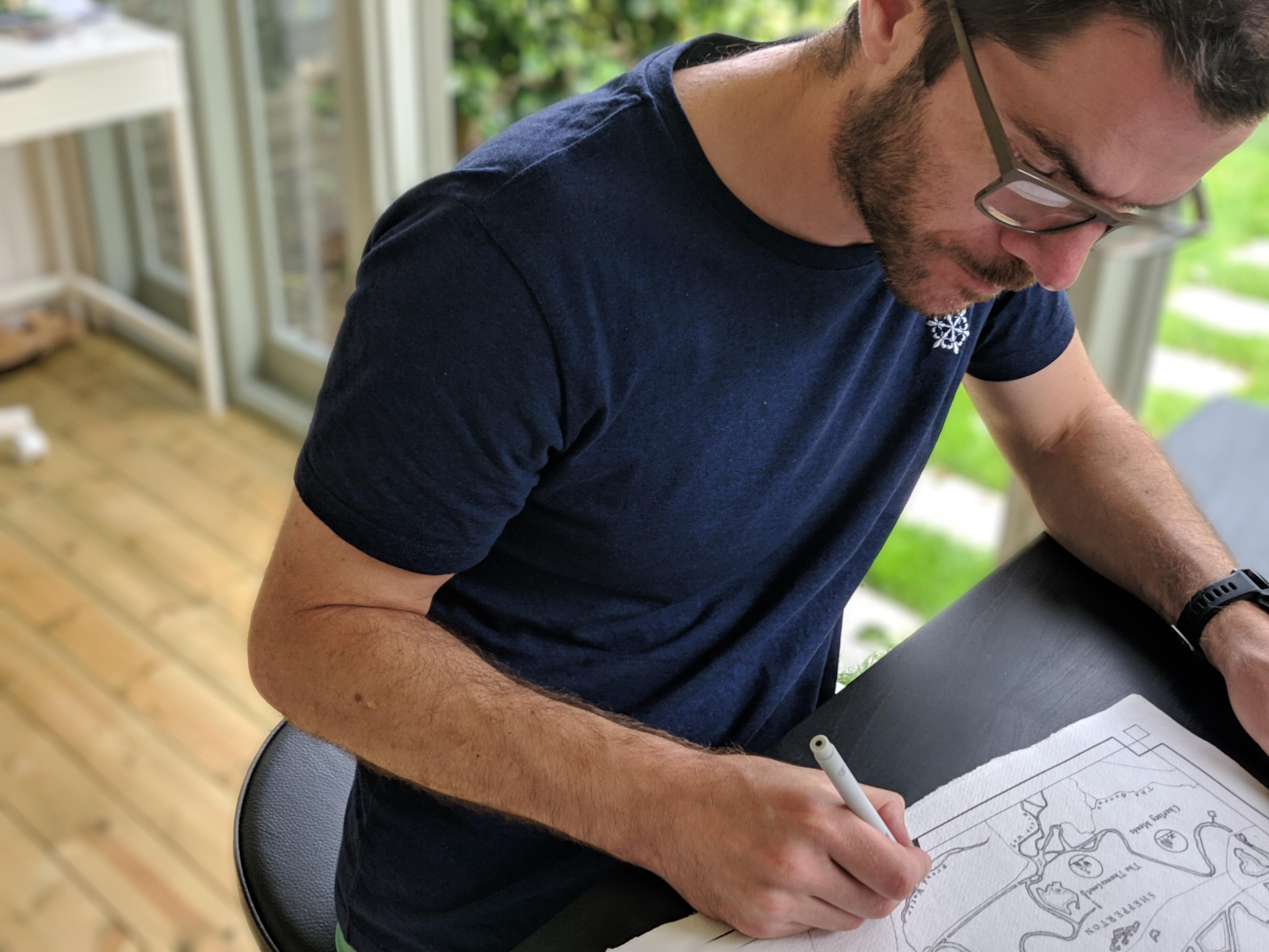 Owen Delaney of Waymarked Art creating a map of Shepperton and surrounding areas, Greater London. Created in Owen
