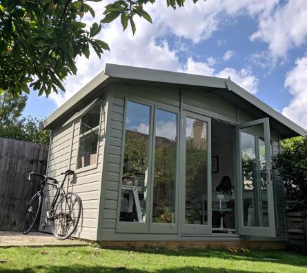 The garden studio that houses Waymarked Art by Owen Delaney. Studio Apex by Malvern Garden Buildings.