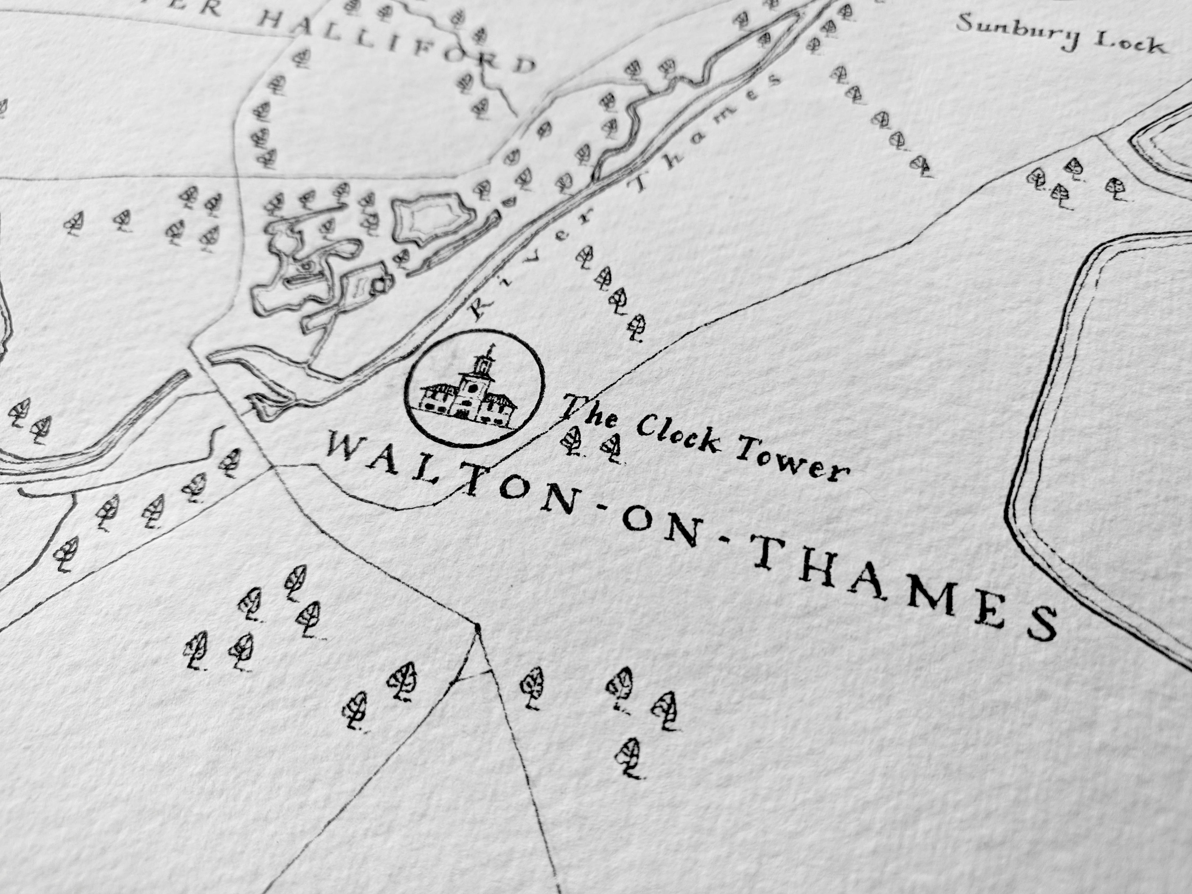 Map of Shepperton and surrounding areas, Greater London. Created in Owen Delaney