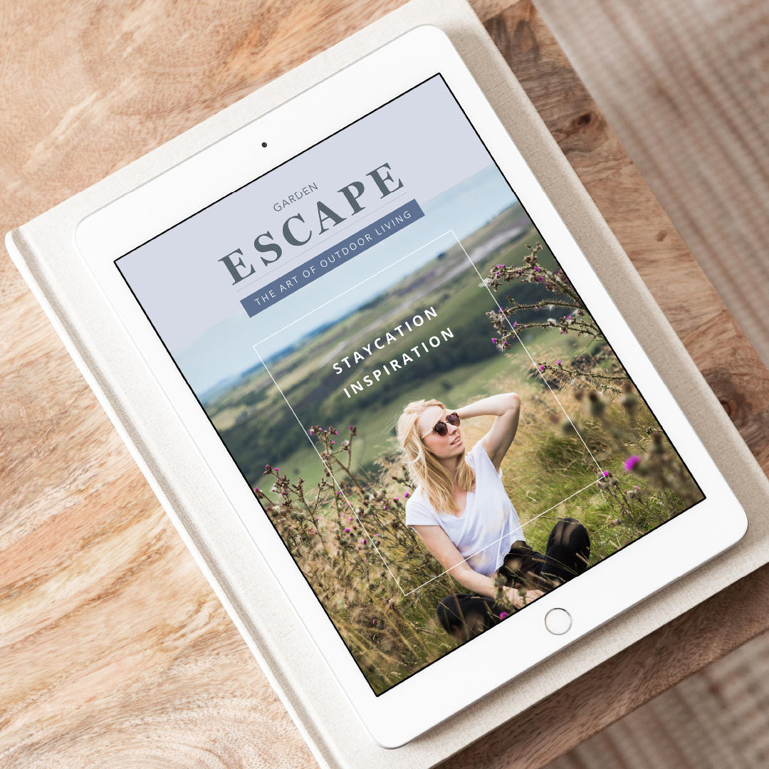 Garden Escape blog page displayed on a tablet device.