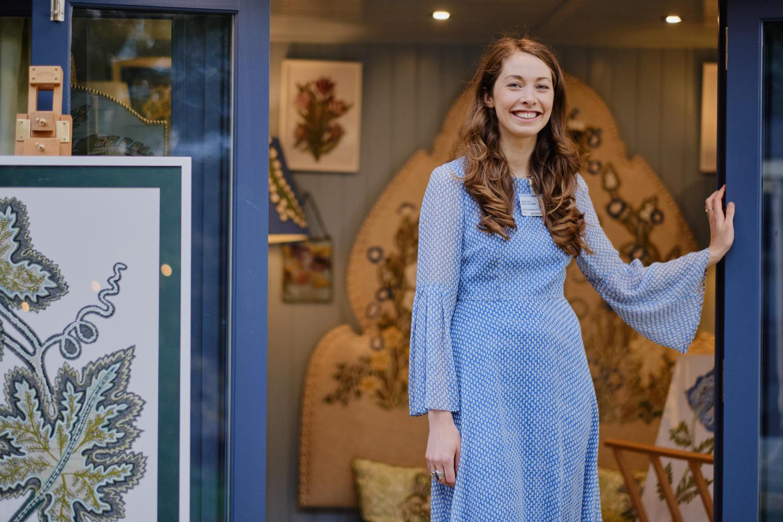 Natasha Hulse at Chelsea Flower Show 2019. Artisan Studio provided by Malvern Garden Buildings, a Hanley Plus garden office