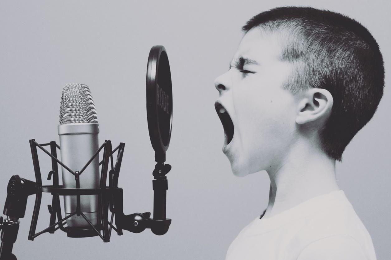 Boy screaming down microphone