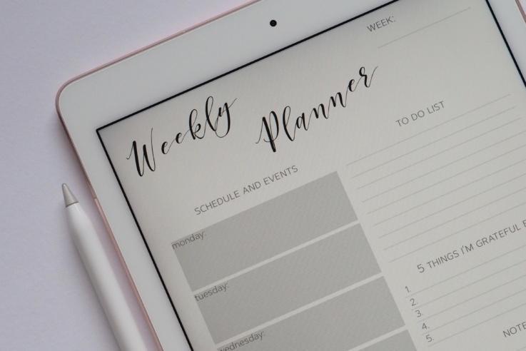 Blank Weekly planner on tablet