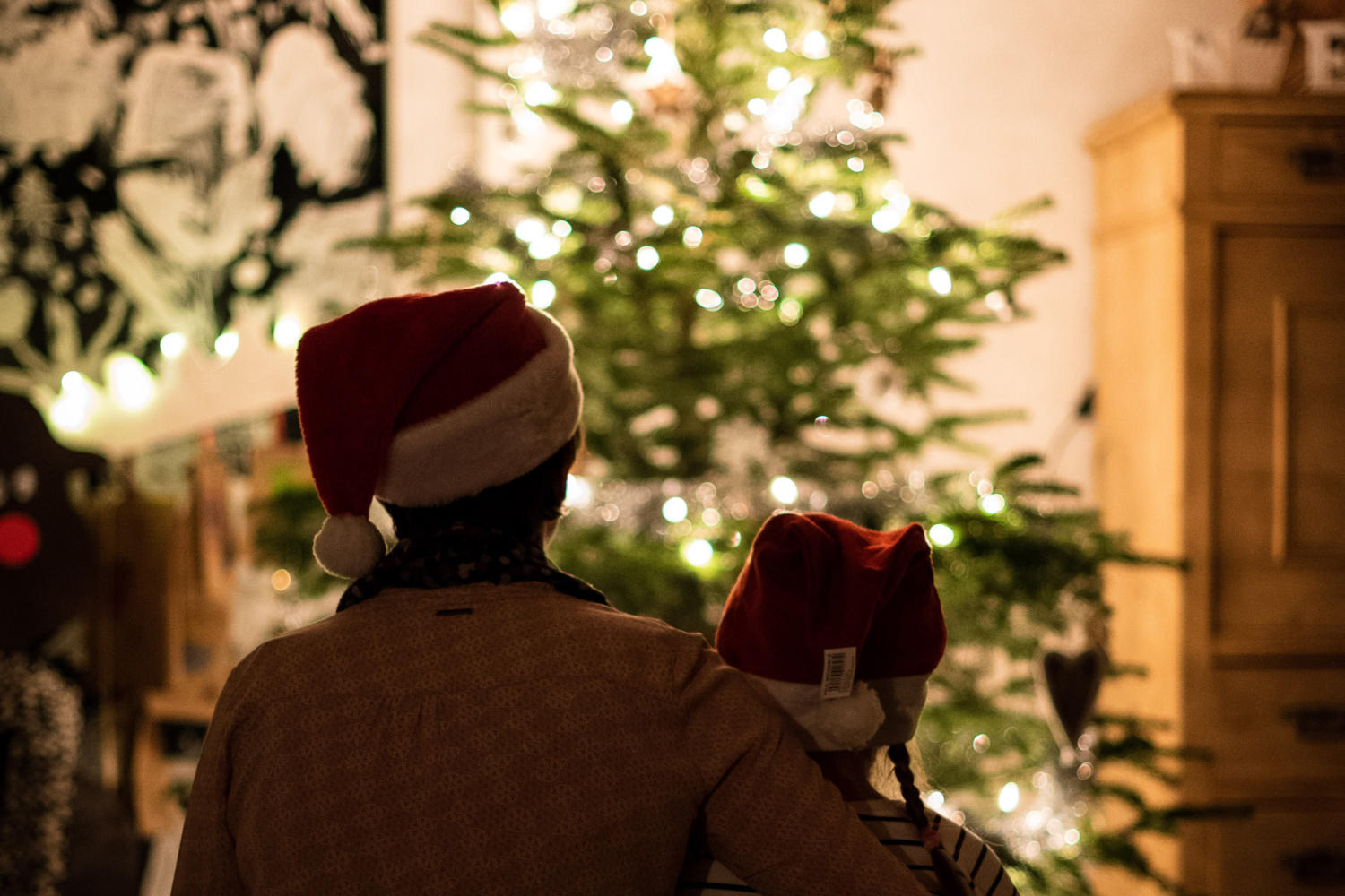 A parent and child sit with their backs to the camera, looking towards a Christmas tree twinkling with fairy lights. They both have Santa hats on and the parent has one arm around the child. 2020 - It's a Wrap by Garden Escape