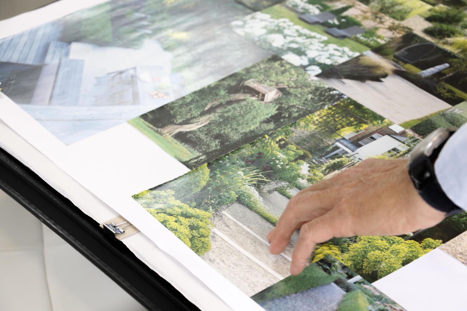 Images of garden designs cut out and stuck onto sheets. Tom Gadsby