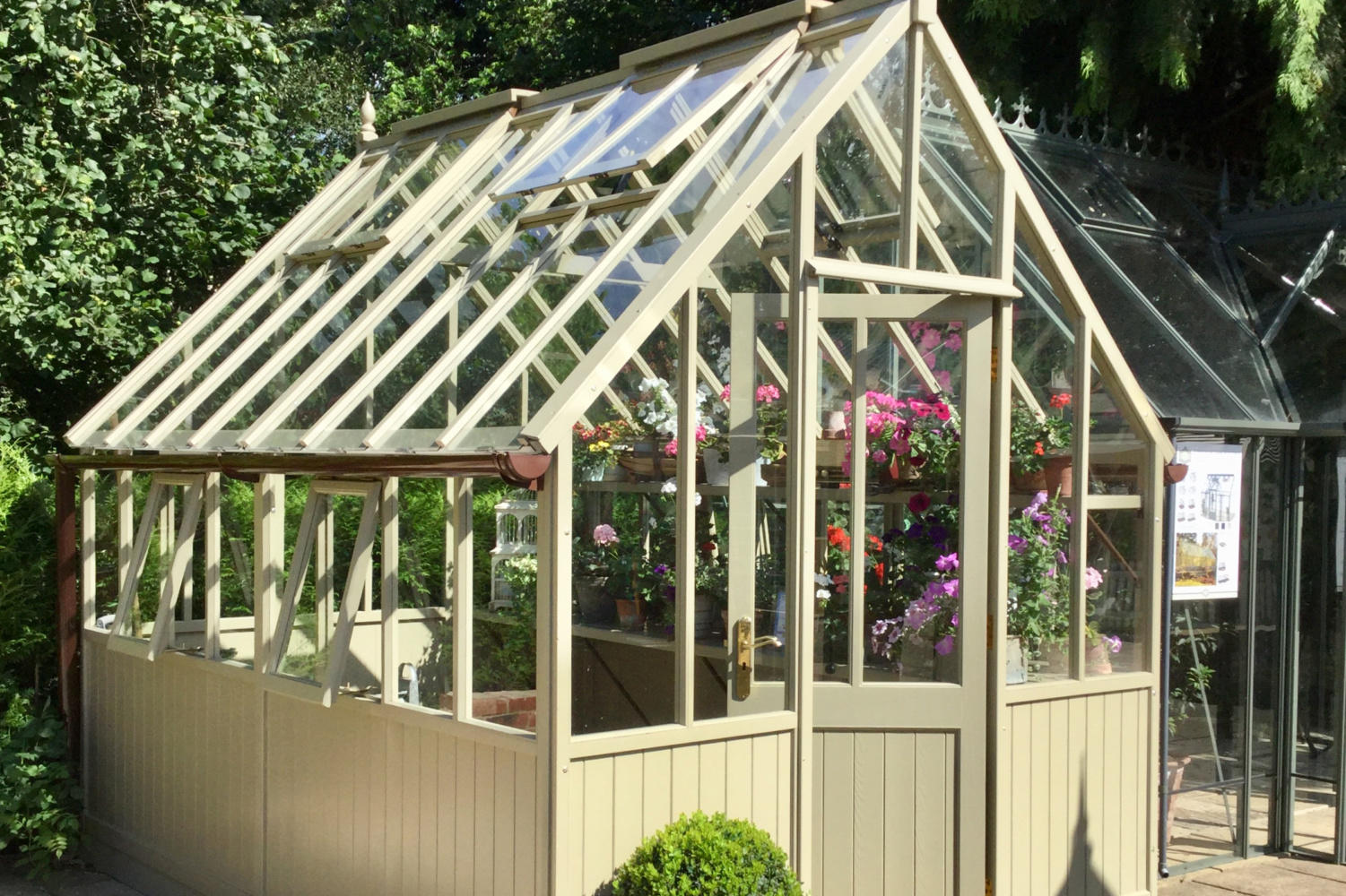 A wooden greenhouse painted in cream, filled with summer flowers