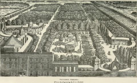 A vintage drawing depicting Vauxhall's Pleasure Gardens