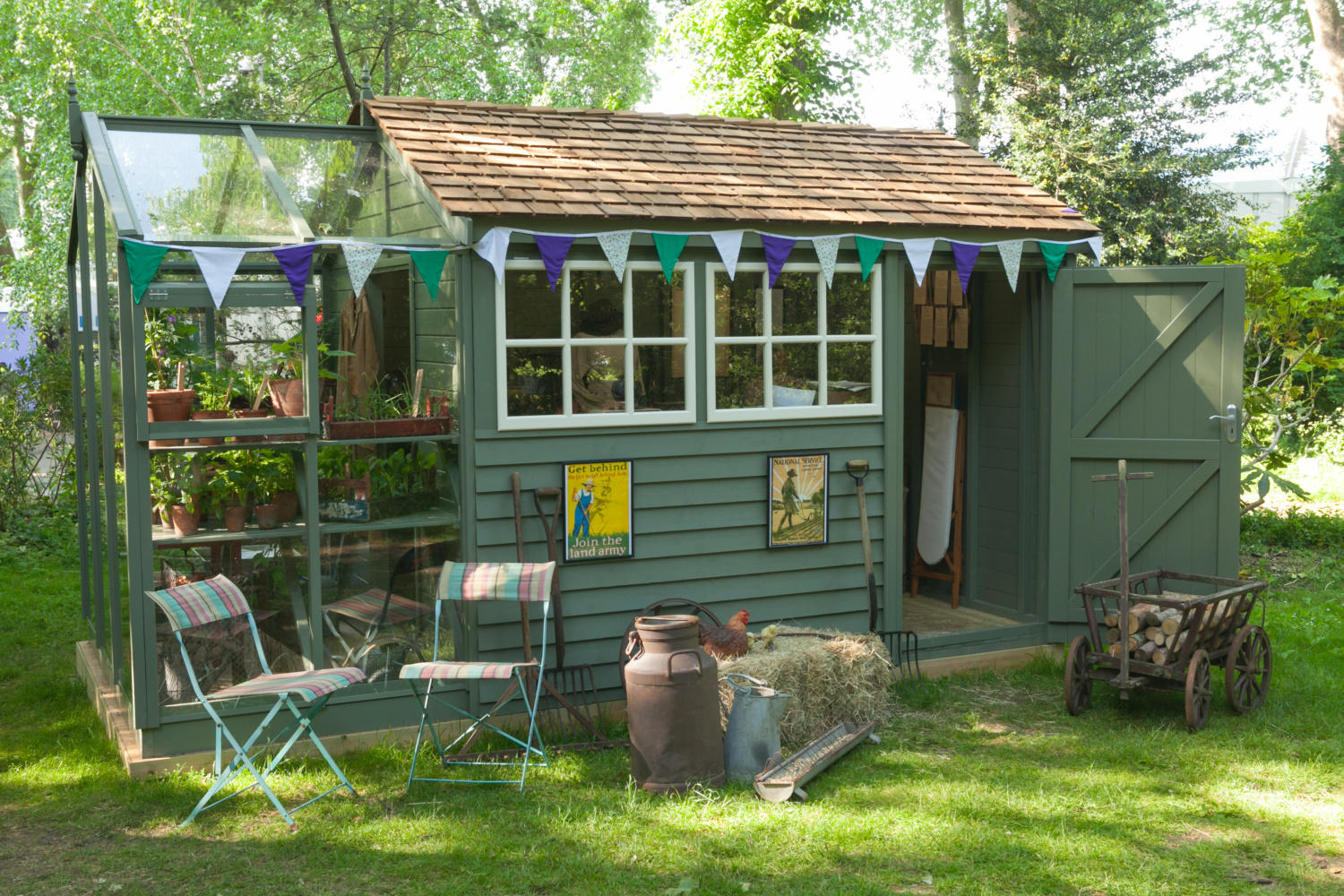 The Women's Land Army exhibit from Chelsea Flower Show 2018. The Holt Fusion garden building is part shed, part greenhouse, making the ideal potting shed.