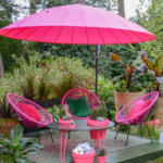 Out garden furniture set in hot neon pink