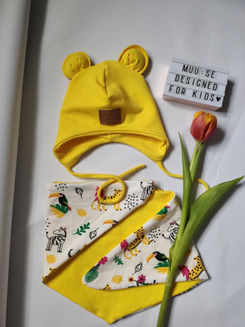 apranga mergaitėms | Kepurės | geltonas kepurės ir kaklaskarės komplekt