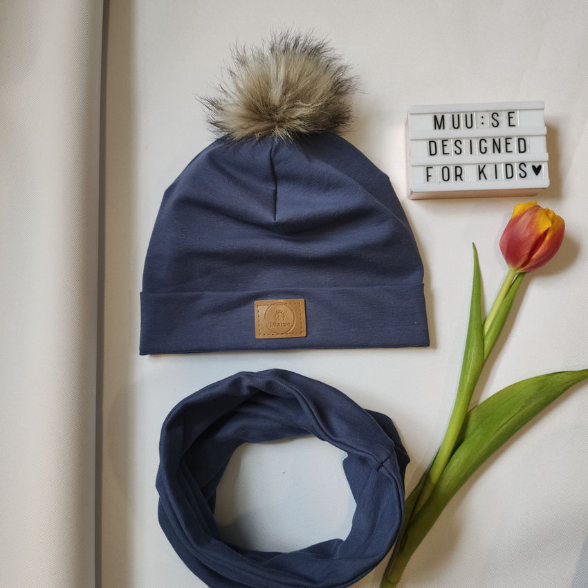 apranga berniukams | Kepurės | indigo spalvos kepurės ir movos komplekt