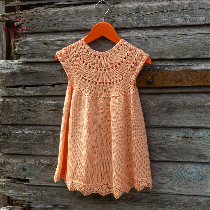 apranga mergaitėms | Suknelės | suknelė apvaliu viršumi. spalva: persiki