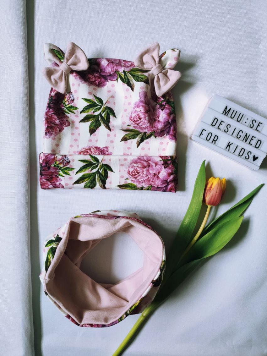 apranga mergaitėms | Kepurės | pavasariškas gėlėtas kepurės ir movos ko