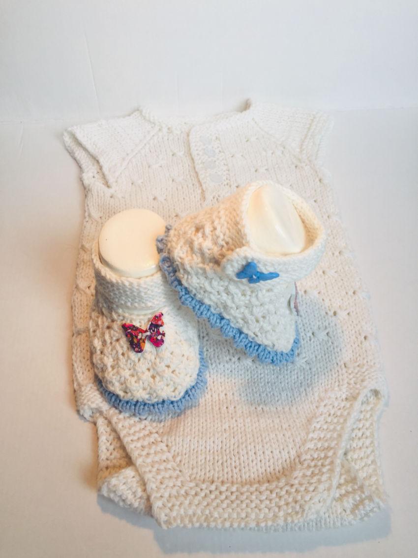apranga berniukams | Komplektukai | megztas iš medvilninių baltos spalvos  s