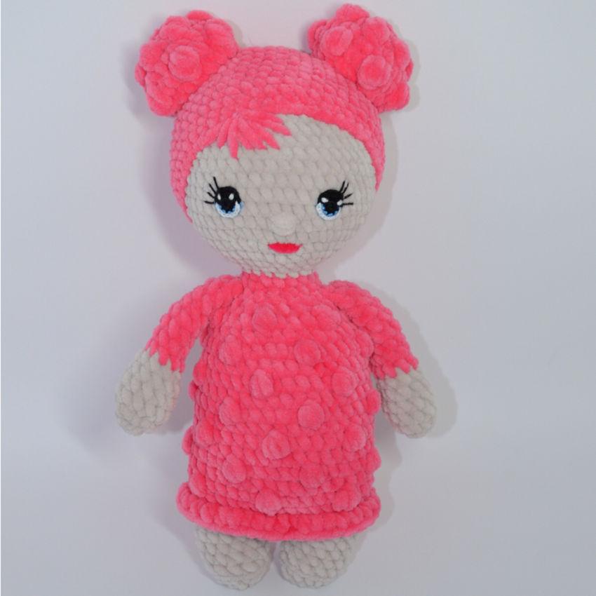 žaislai | minkšti | pliušinė, minkšta lėlytė su rožine sukne