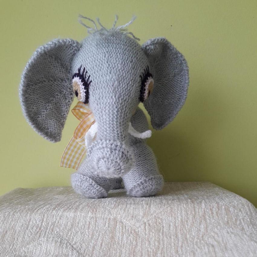 žaislai | minkšti | rankų darbo megztas drambliukas, 16 cm a