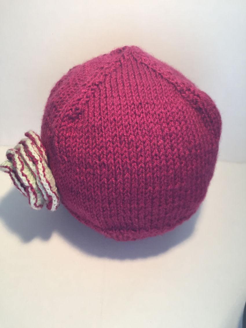 apranga mergaitėms | Kepurės | pusvilnės tamsiai vyšninės spalvos siūlų