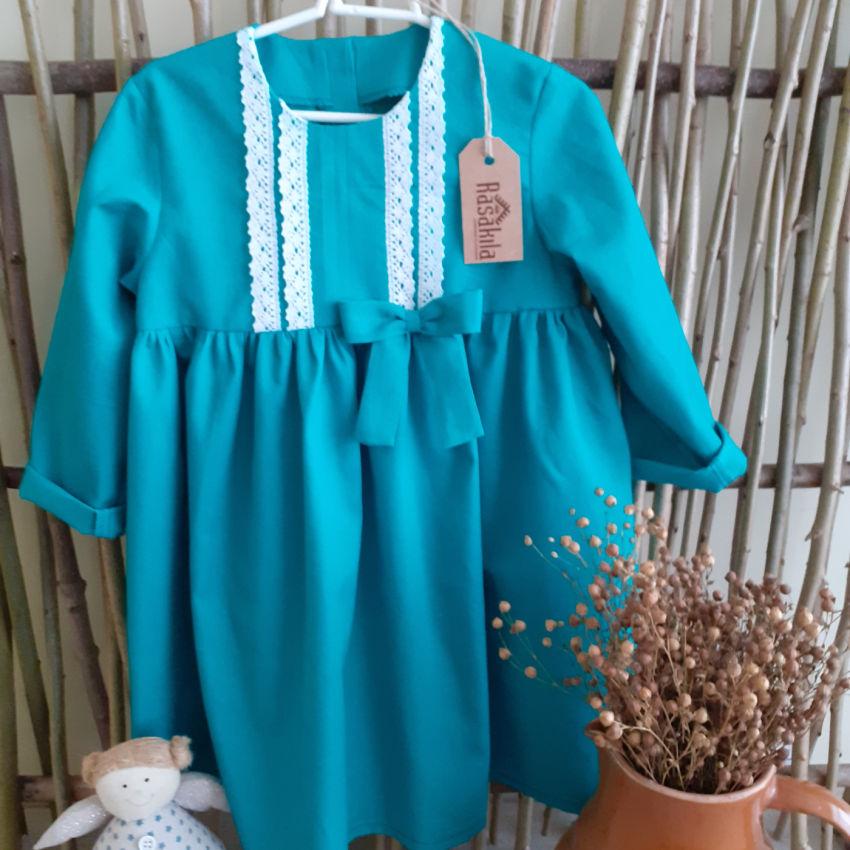 apranga mergaitėms | Suknelės | turkio spalvos medvilninė suknelė puošta