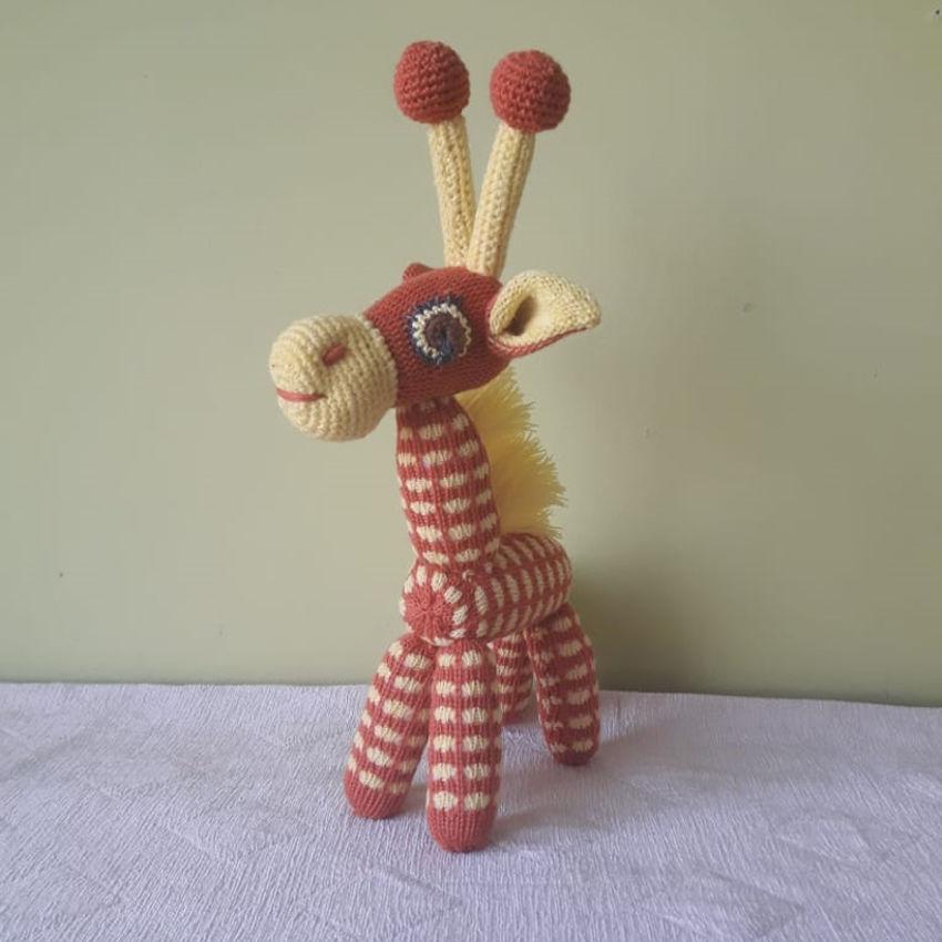 žaislai | minkšti | rankų darbo megztas žaislas - žirafa, 32