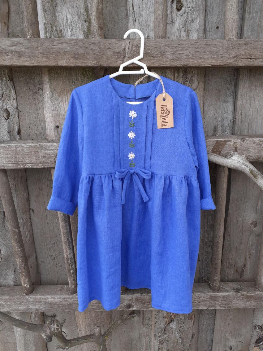 apranga mergaitėms | Suknelės | rugiagėlių spalvos siuvinėta minkšto lin