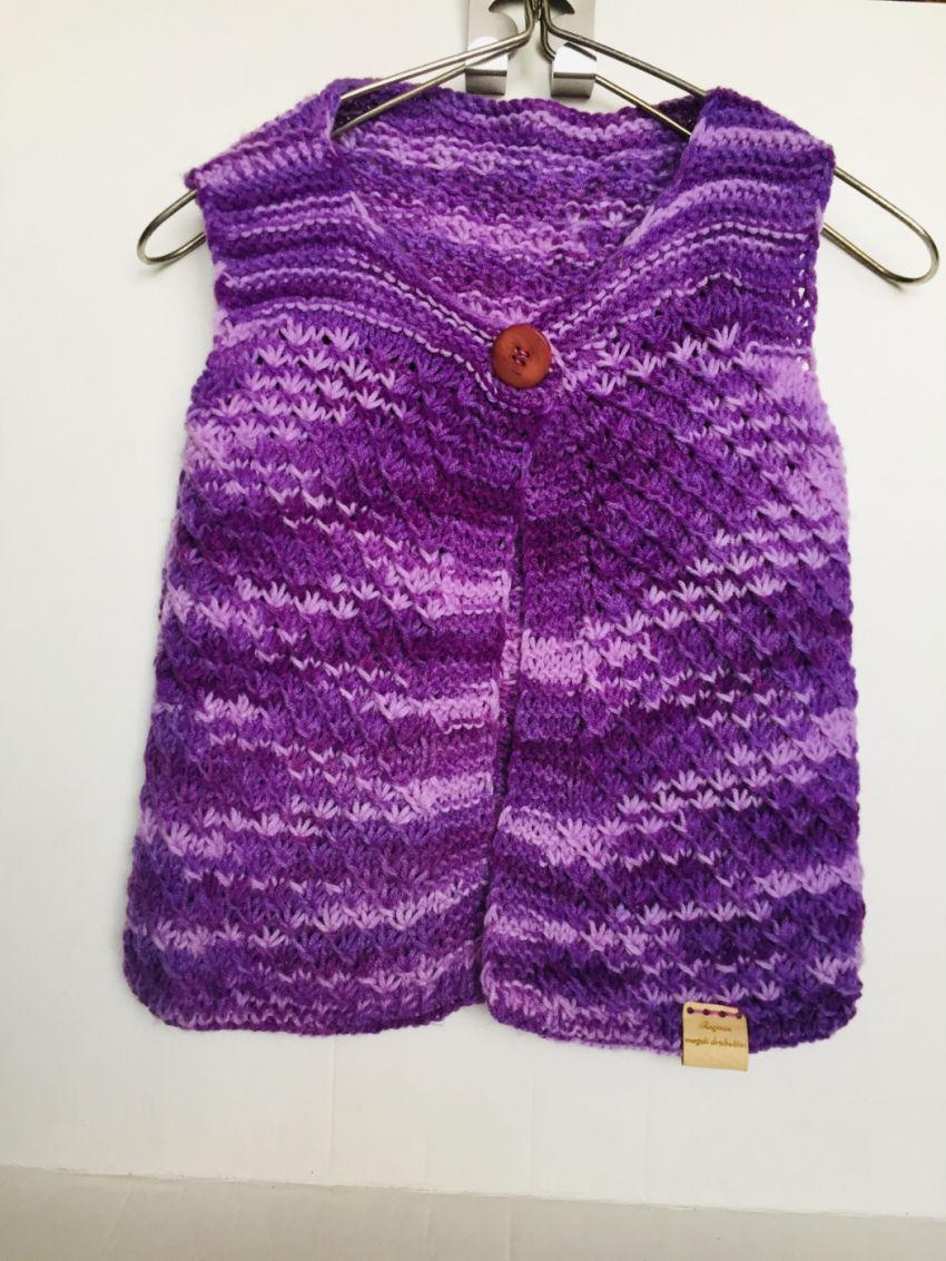 apranga mergaitėms | Liemenės | rankomis megzta ,alyvinės spalvos, lieme