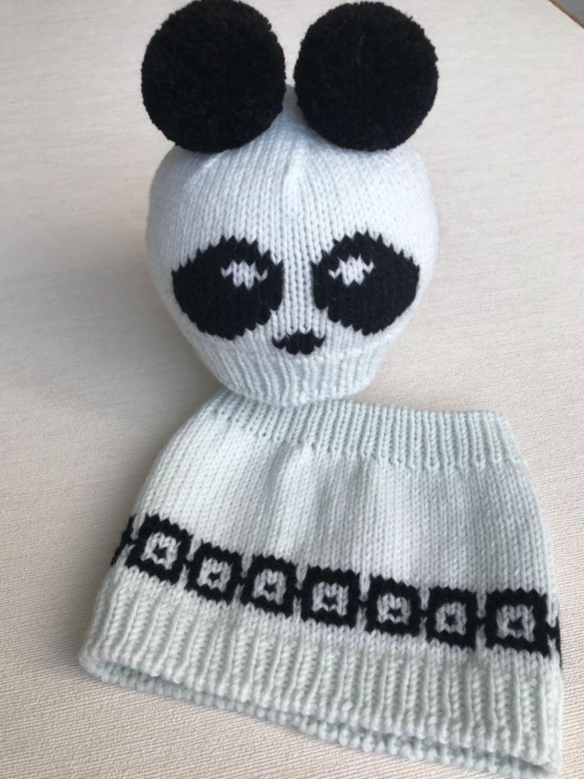 """apranga berniukams   Kepurės   merino vilnos komplektukas """"panda"""" mažyl"""