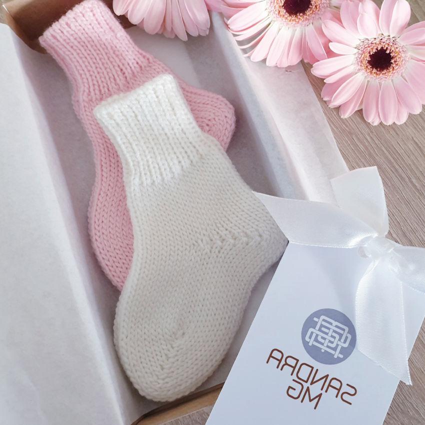 avalynė | kojinės | kojinytės kūdikiui, baltos/rožinės kojin