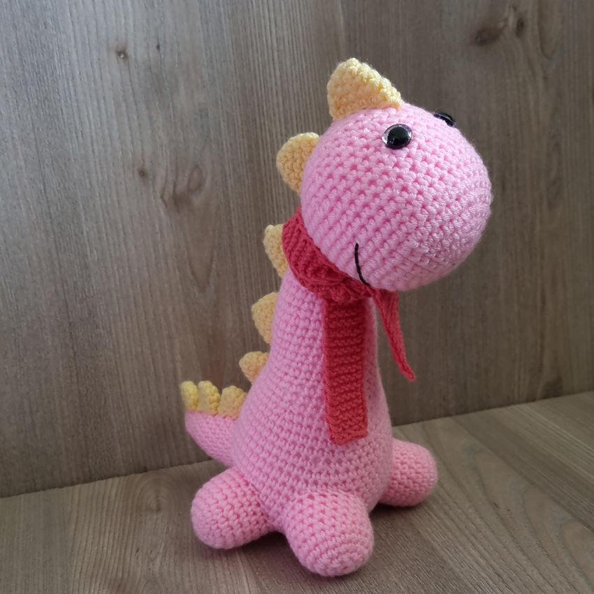 žaislai   minkšti   rankų darbo nertas žaislas dinozauriukas
