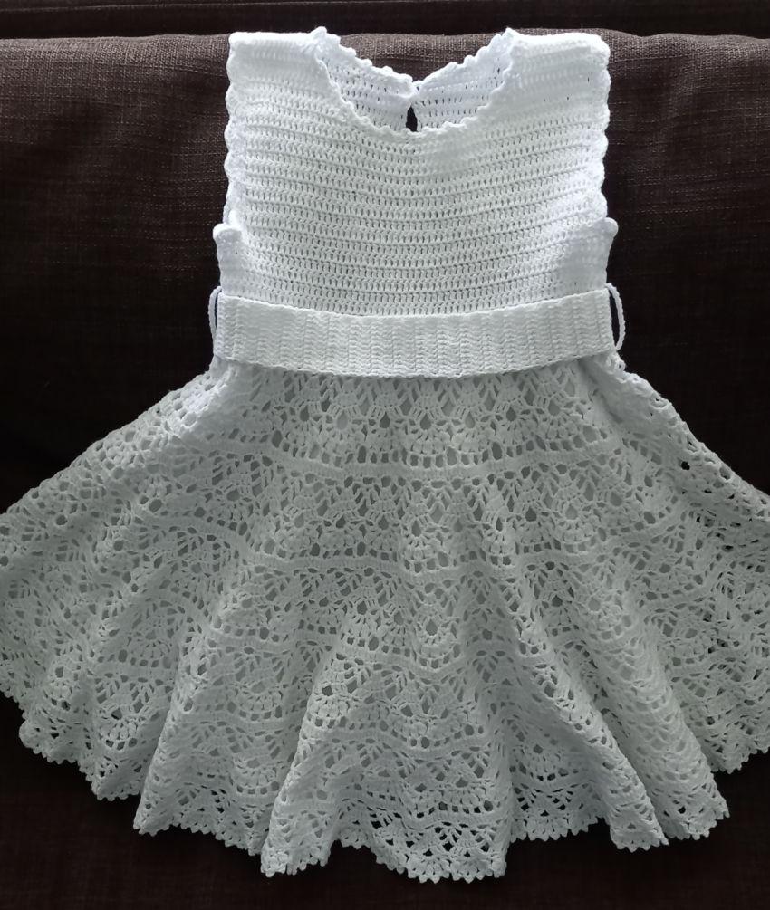apranga mergaitėms | Suknelės | balta šventinė iš pusmedvilnės siūlų vąš