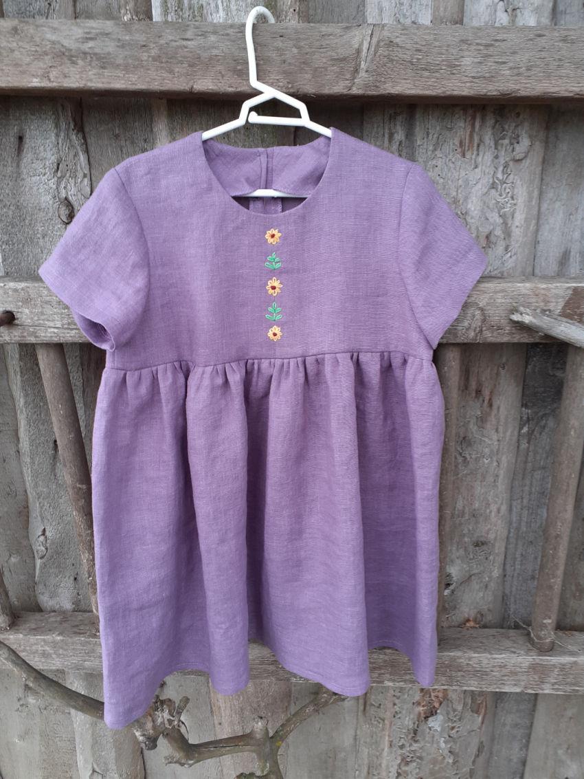 apranga mergaitėms | Suknelės | siuvinėta lininė suknelė vasarai