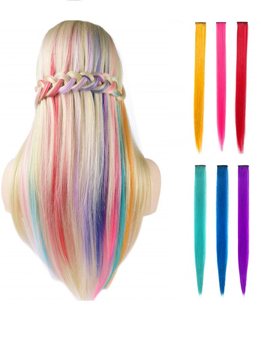 aksesuarai   plaukams   spalvotos plaukų sruogelių rinkinys merg