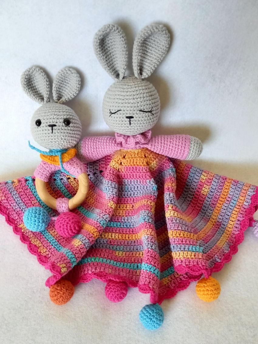 žaislai | migdukai | vąšeliu nertas rožinis migdukas ir baršk