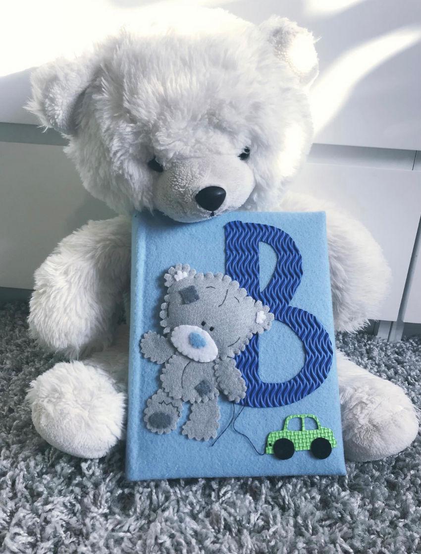 dekoracijos | vaiko kambarys | vaikiškas albumas su meškučiu. spalva žy
