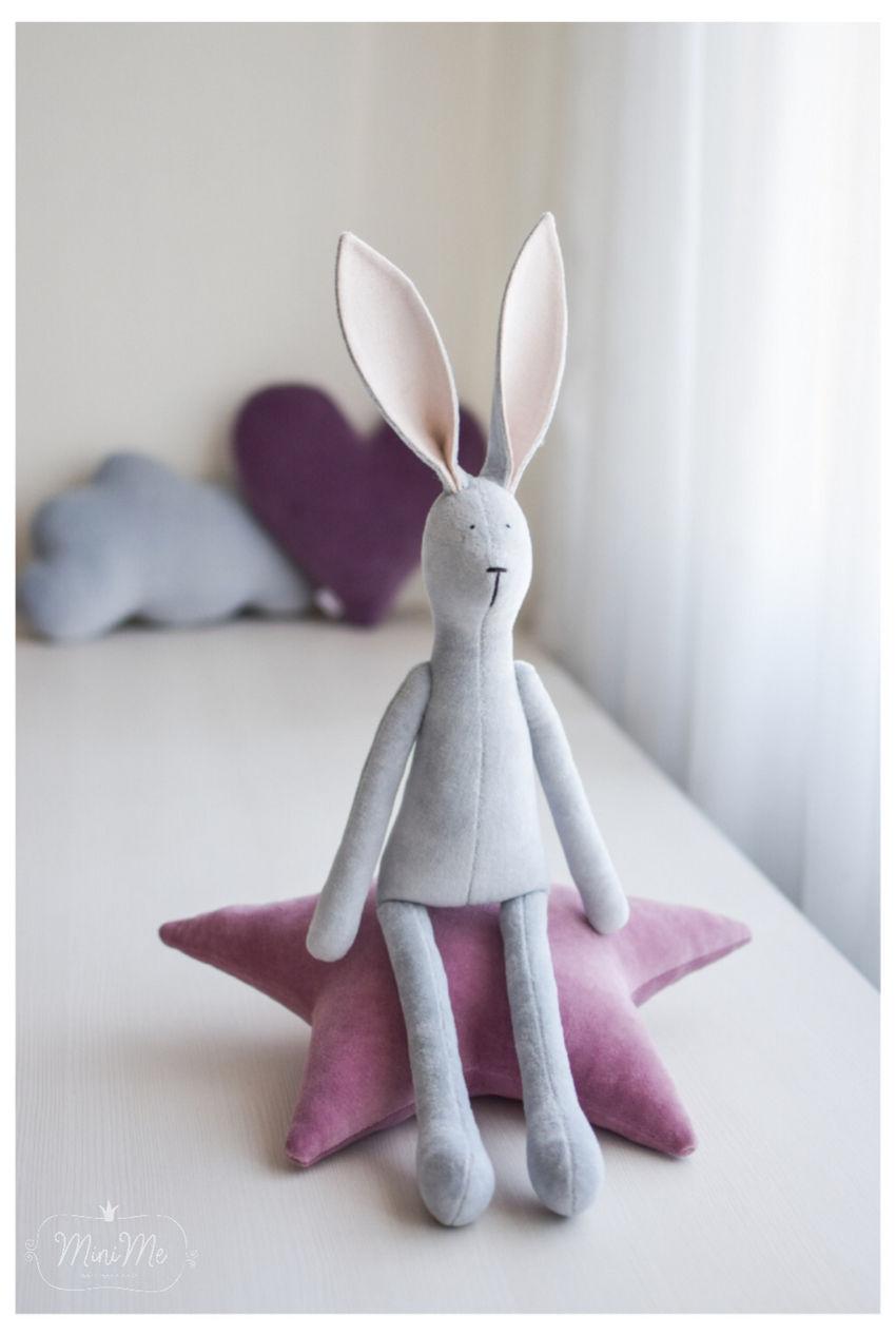 žaislai   minkšti   pilkos spalvos zuikis,  pliušinis žaisla
