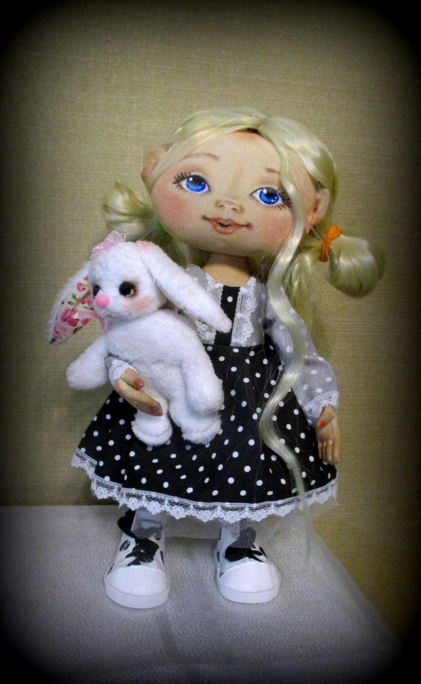žaislai | lėlės | lėlytė 35 cm su zuikeliu