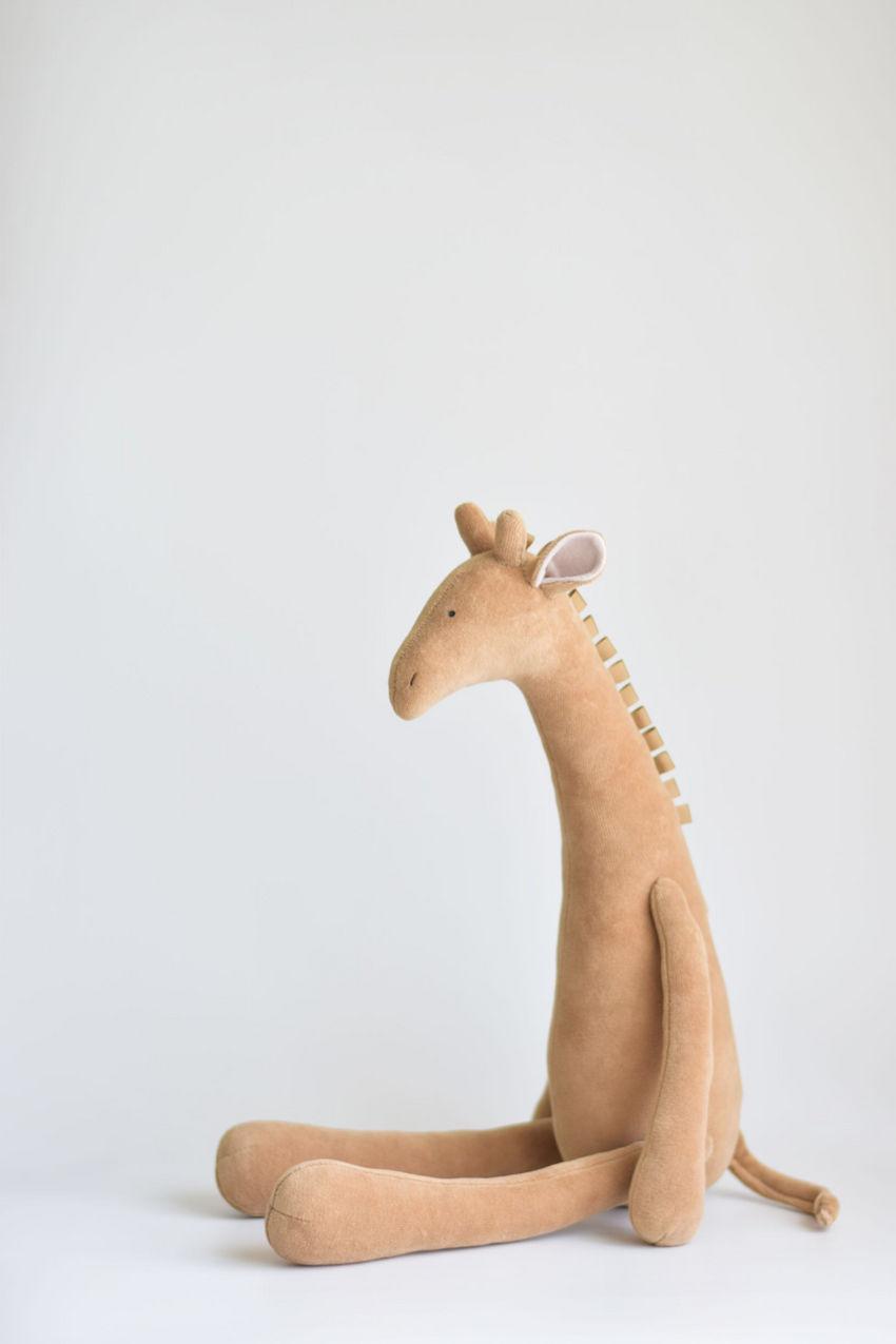 žaislai | minkšti | šviesiai ruda žirafa, dovana vaikui, žai