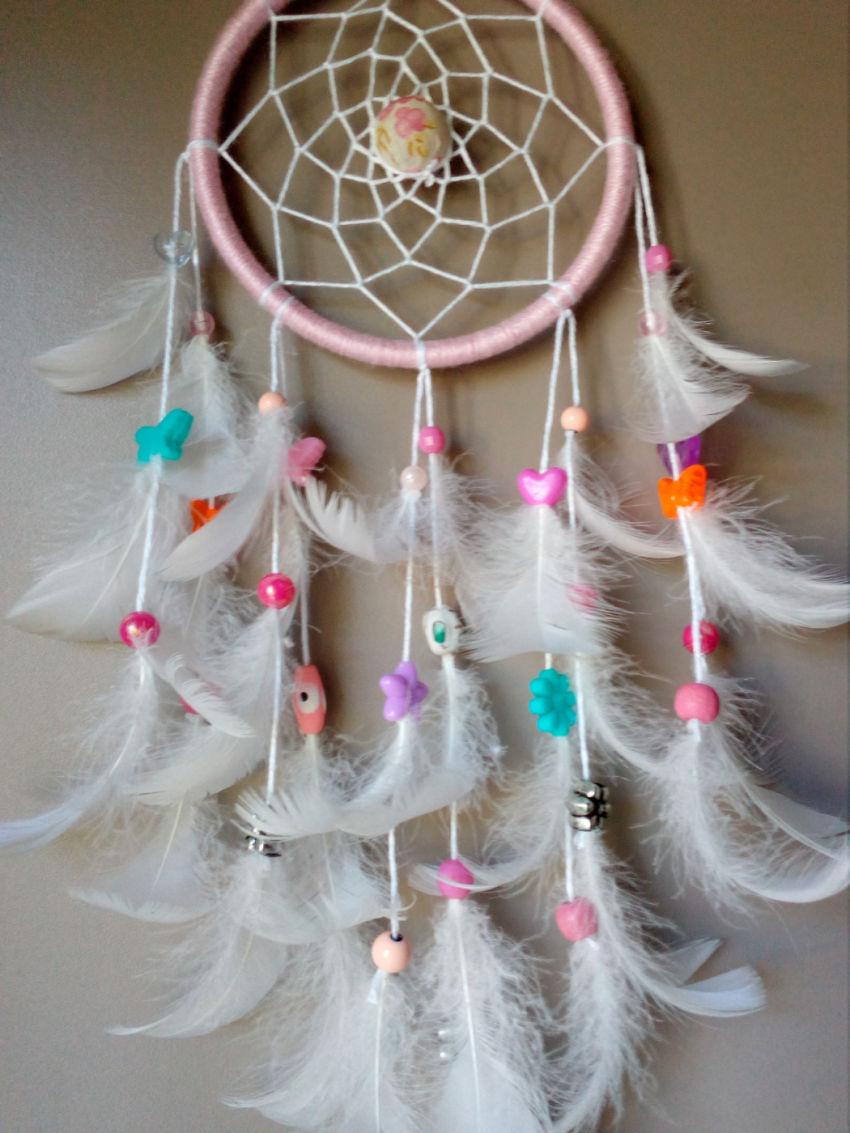 dekoracijos   vaiko kambarys   sapnų gaudyklė, rožinės spalvos, skersmu