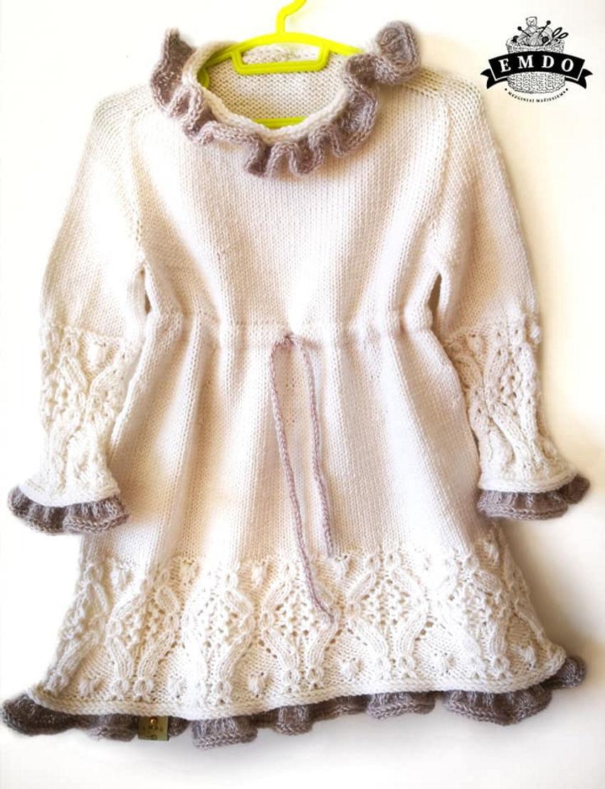 apranga mergaitėms | Suknelės | baltos spalvos 100% merino vilnos suknyt