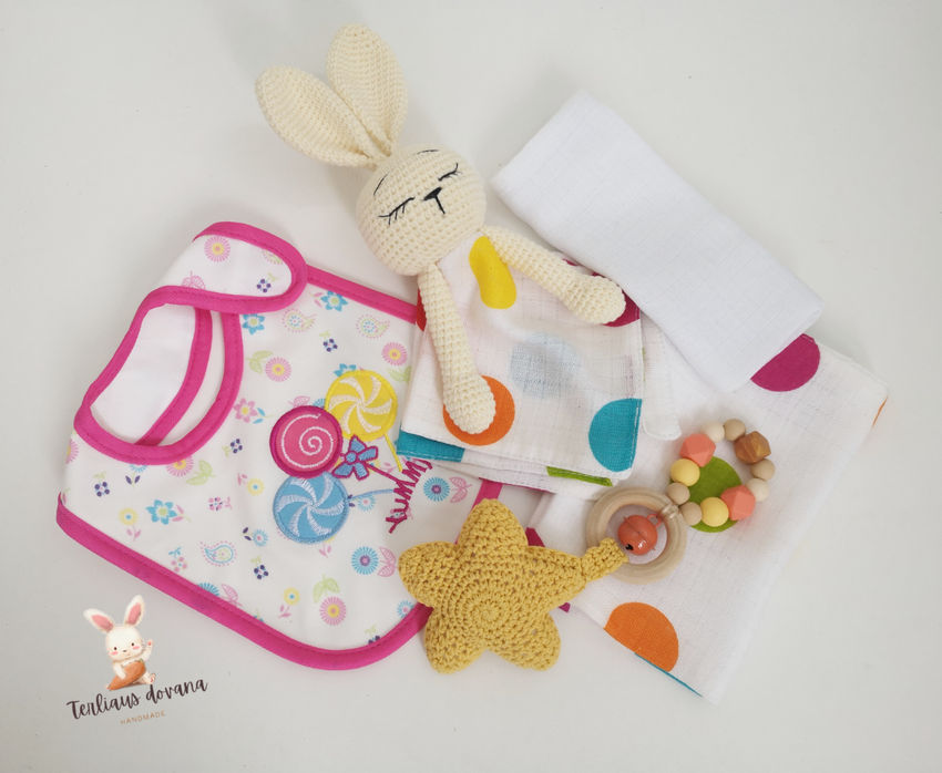 žaislai   migdukai   penkių dalių dovanėlė kūdikiui, tinkanti
