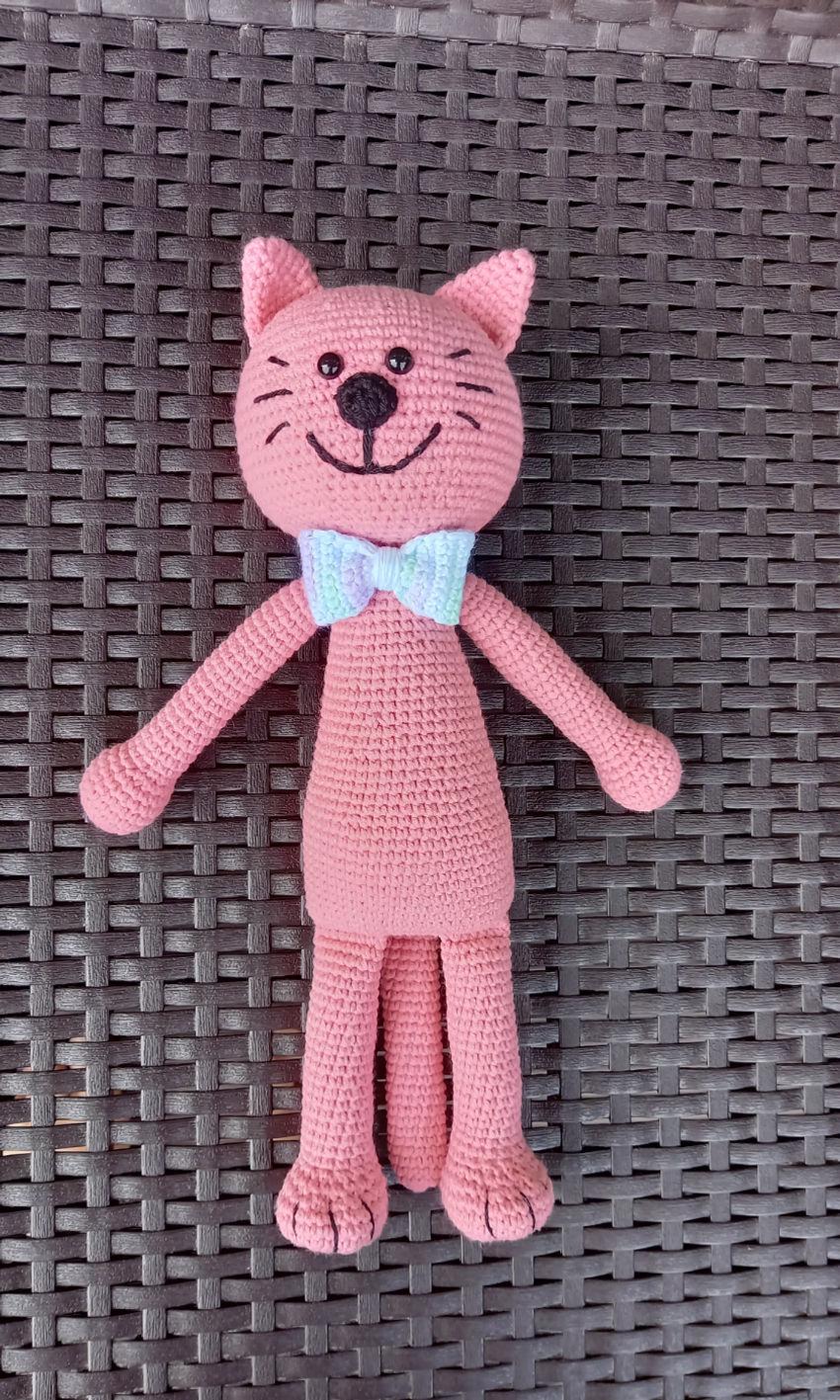 žaislai | minkšti | linksmuolis rožinis kačiukas su petelišk