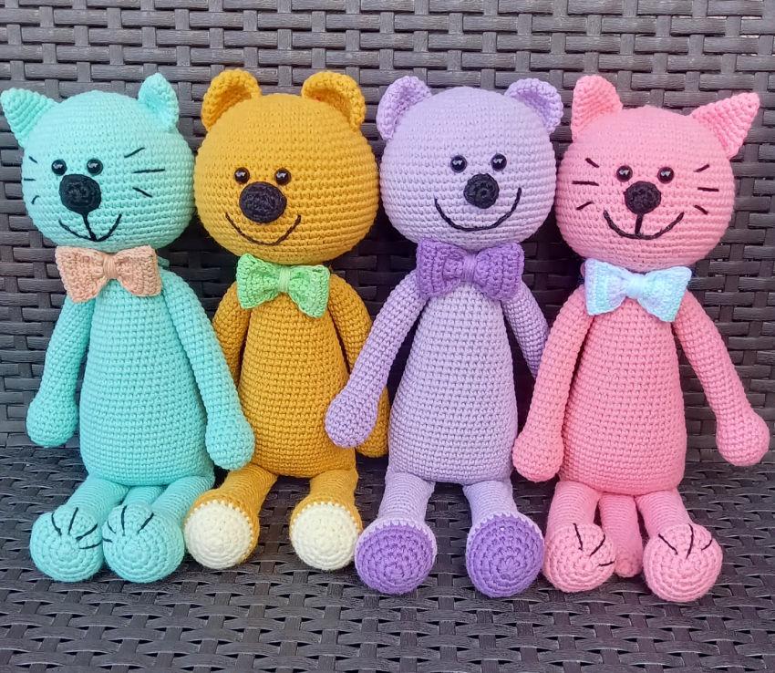 žaislai | minkšti | linksmučiai spalvoti kačiukai ir meškiuk