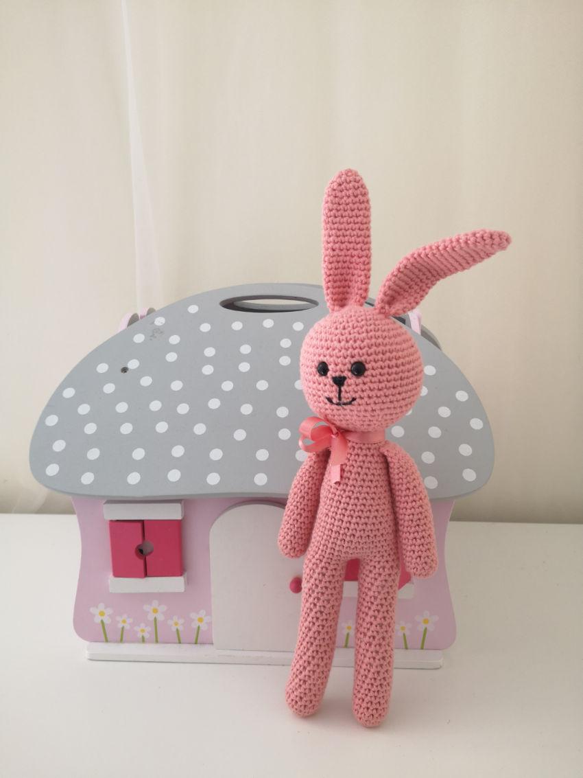 žaislai | minkšti | linksmuolis, rožinis -  zuikutis, 32 cm.