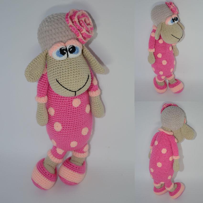 žaislai   minkšti   rankų darbo nerta avytė su rožiniu kosti