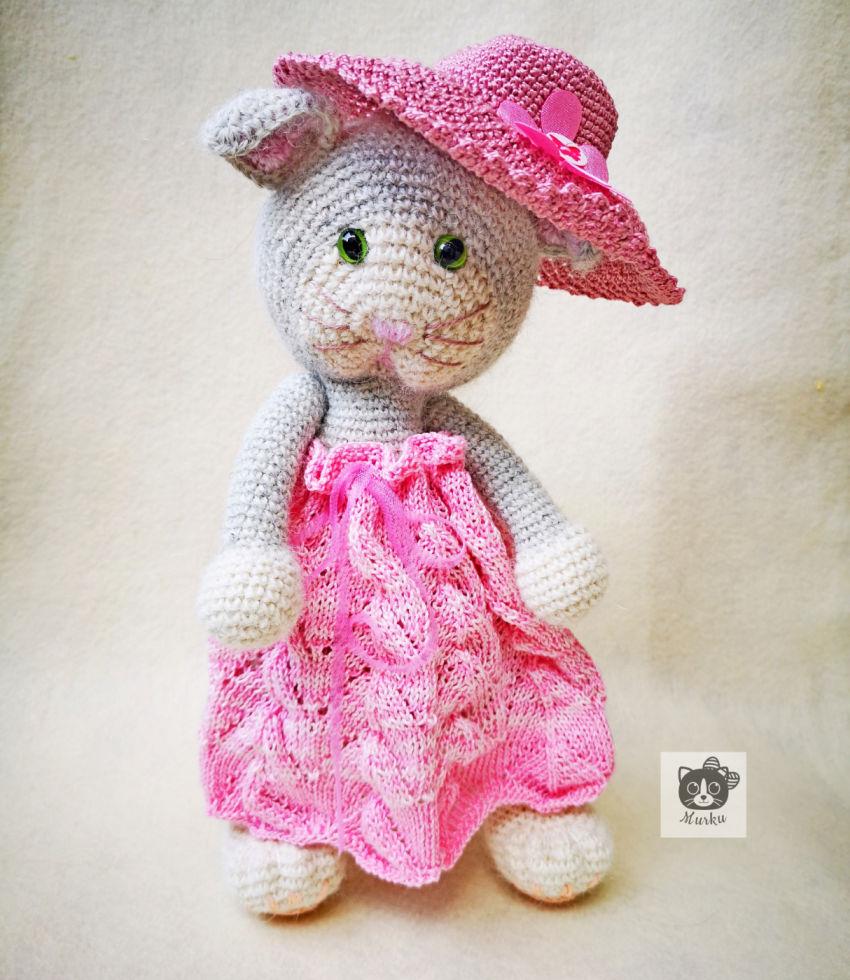 žaislai   minkšti   nerta pilka katytė misė su rožine suknut