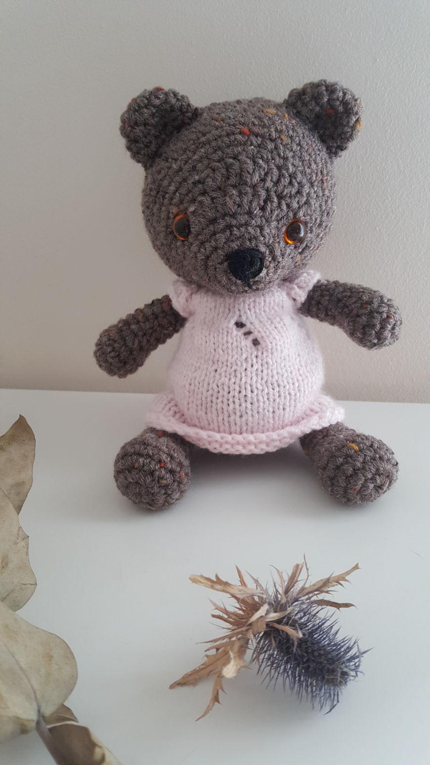 žaislai | minkšti | nerta meškutė rožine suknele