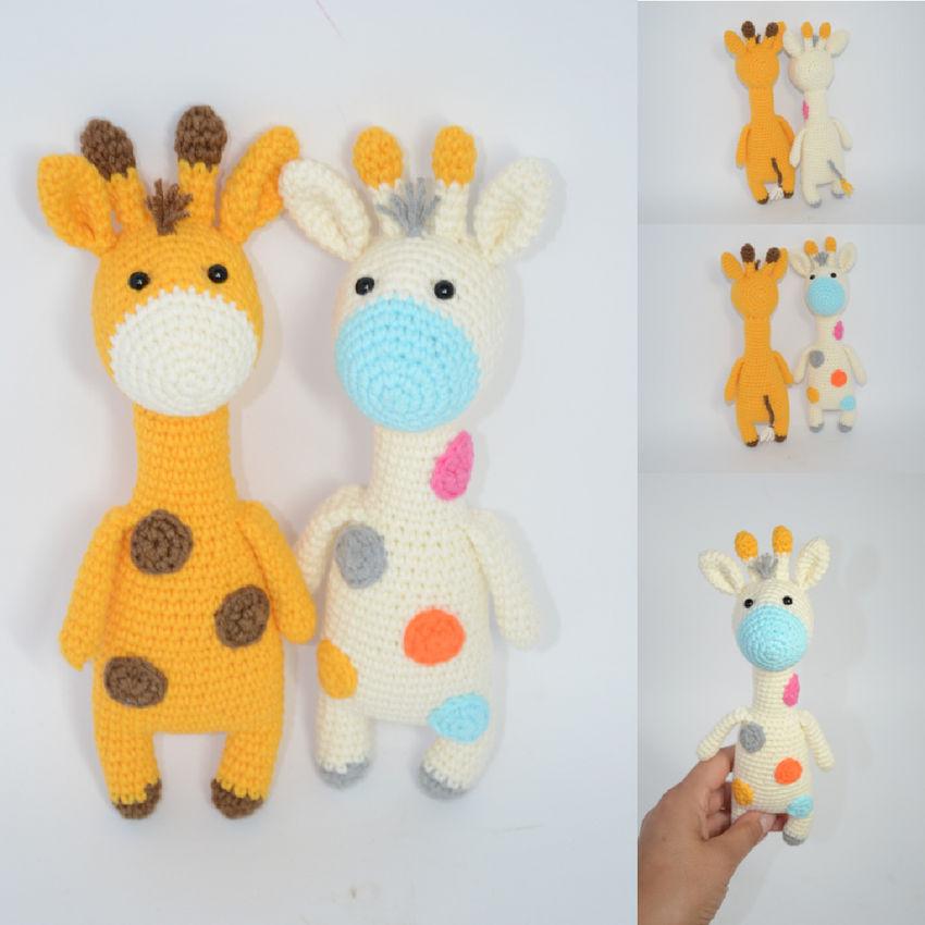 žaislai   minkšti   rankų darbo nerta maža žirafėlė, dviejų